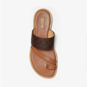 Michael kors pratt logo and leather sandal